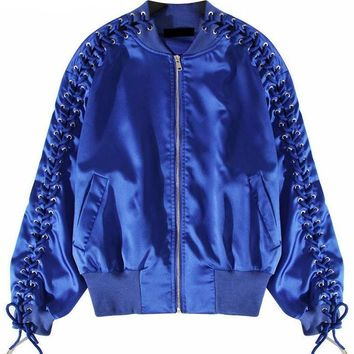 Bomber Jacket with Lace Up Sleeves
