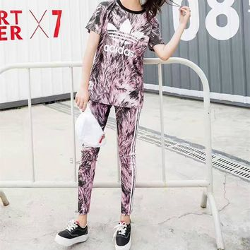"""Adidas"" Women Fashion Clover Stripe Letter Print Short Sleeve Trousers Set Two-Piece"
