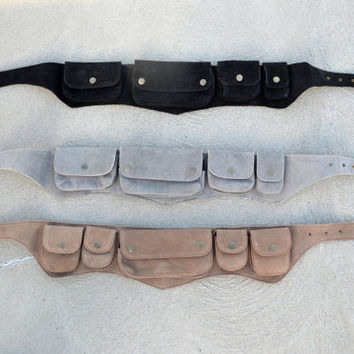 Burning Man utility belt - suede, 5 pockets