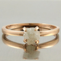 14K Rose Gold Ring with White Rough Diamond - Uncut, Unfinished White Natural Diamond - Engagement Ring, Wedding Ring - Solitaire Ring