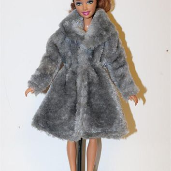 6 colors High Quality Handmade Clothes Dresses Grows Outfit Flannel coat for Barbie Doll dress for girls baby best gift