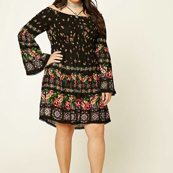 Plus Size Smocked Floral Dress