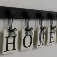 HOME with a HEART Hanging Letter Sign Set Includes 5 Peg Wooden Hanger Shelf, Black. Gift for Wedding, Bridal Shower and Anniversary