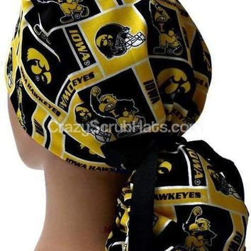 Women's Ponytail Surgical Scrub Hat Cap in Iowa Hawkeyes Squares