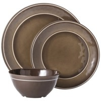 Threshold™ Round Melamine 12 Piece Dinnerware Set - Tan