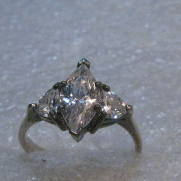 Sterling Silver Marquise Clear Ring, size 8.5, signed CAR, 1970's-1980's, Engagement