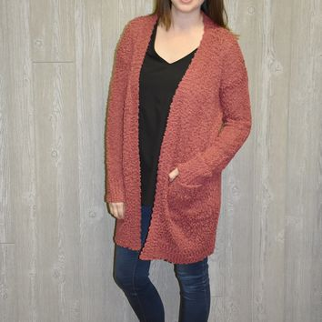 Touch of Winter Cardigan: Marsala