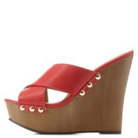 Red Studded X-Band Wooden Mule Wedges by Charlotte Russe