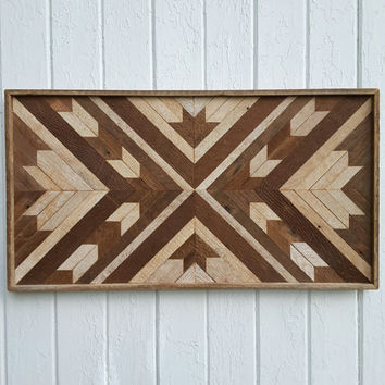 Reclaimed Wood Wall Art - Wall Decor - Maple Leaf - Chevron Design - Rustic Art - Mosaic Art - Geometric Design - Lath Art