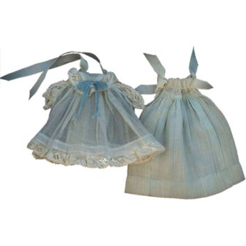 ANTIQUE Mignonette DOLL Dress Clothing LACE Silk Blue Organdy 5.5 to 6.5 Miniature Dolls c.1910's
