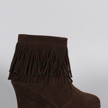 Suede Layered Fringe Wedge Booties