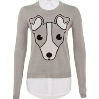 New Look Mobile | Grey 2 in 1 Dog Shirt Jumper