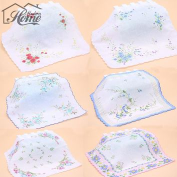5pcs Flower Type Ladies Handkerchiefs 30cm*30cm Vintage Cotton Pocket Square Hanky Wedding Decoration Party Hankie Random Color