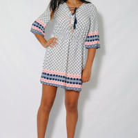(amg) Kimono sleeves boho chic short dress