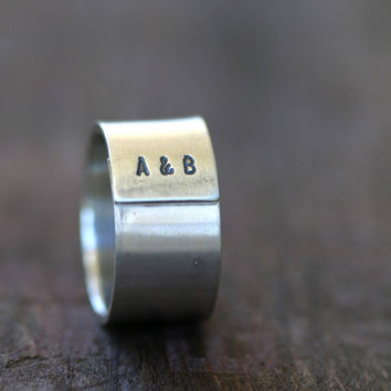 Personalized Initials Sterling Silver Band by monkeysalwayslook