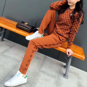 DCCKXT7 Louis Vutitton × Supreme' Women Casual Fashion Knit Logo Letter Long Sleeve Sweater Trousers Set Two-Piece Sportswear