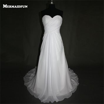 2017 A Line Elegant Beach Style Sweetheart Beaded Chiffon Lace-up Back Beautiful Wedding Dress Wedding Gown