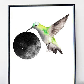 Hummingbird art print,  green bird watercolor poster, minimal poster, scandinavian, home wall art, modern decor, galaxy art, nebula print