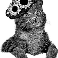 cat wearing sunflower hat original illustration printable art print png clipart download digital image graphics pets animal black white art