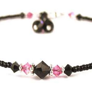 Sexy Handmade Black Swarovski Crystal Beaded Anklet  -  Birthmonth Pink Tourmaline October