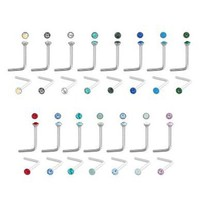 316L Surgical Steel Vacuum Plated Nose L-Bend Aurora Borealis Nose Stud - 22g 2mm Length - Sold As Pairs
