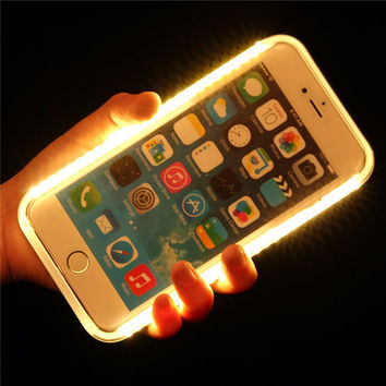Selfie Luxury Light Up Glowing Phone Cases for iPhone 7 6 6S Plus 5 SE Cover For Samsung S6 S7 Edge Apple Flash Light Case