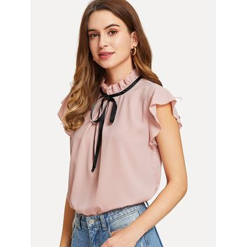 Bow Tied Frilled Neck Button Back Blouse Pink