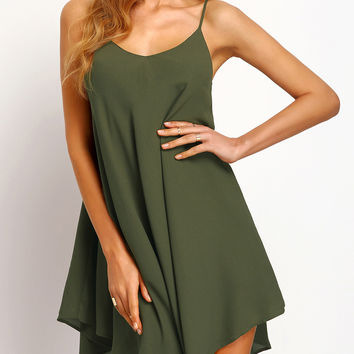 Green Cute Summer Sundress with Spaghetti Straps