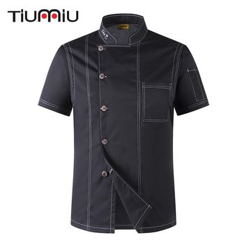 Unisex Cook Clothes Men Single Breasted High Quality Kitchen Cook Uniform Short-sleeved Restaurant Bakery Waiter Tops Shirt