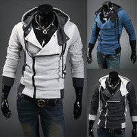Jeansian Mens Sport Hoodies Zip Jacket Coat Shirt Slim 6 Color US XS S M L 8945