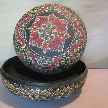 Round Lidded Basket, Vintage, Large, Painted Designs, Stippled Mosaic Asian Moroccan Influence, Sewing Basket