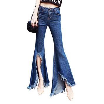High Waist Split Denim Trousers For Women Jeans Flare Pants Casual Blue Slim Autumn Women's Jean Pant