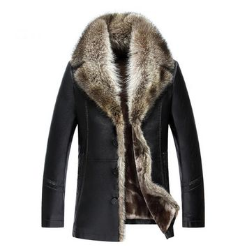 Winter Medium Long Good Jacket Men Thick Big Fur Collar Parka Jacket Man Leather