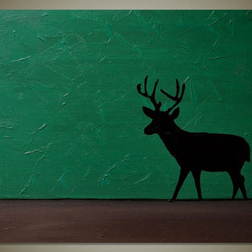Original Abstract Landscape Acrylic Canvas Textured Painting: Green Forest, Brown Earth, Deer Silhouette - 20 x 16