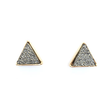 Stone Temple Triangle Earrings In Graphite Silver