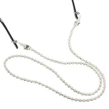 5pcs White Pearl Beaded Eyeglasses Reading Glasses Chain Holder Cord