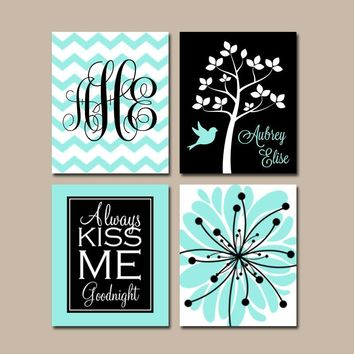 BLACK AQUA Nursery Wall Art, CANVAS or Prints Baby Girl Nursery Wall Art, Monogram Flower Tree Bird Girl Bedroom Kiss Me Goodnight Set of 4