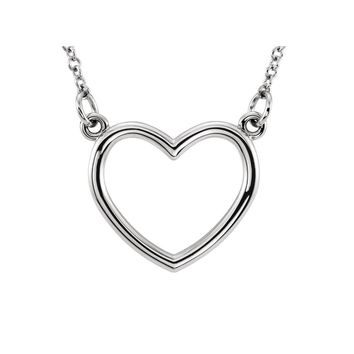 Polished 13mm Heart Necklace in 14k White Gold, 16 Inch