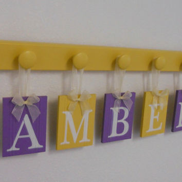 Purple and Yellow Baby Girl Rooms Hanging Ribbon Letter Name Plates Personalized for AMBER with 5 Wood Pegs Yellow