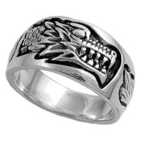 Sterling Silver Dragon Ring 12mm ( Size 5 to 12)