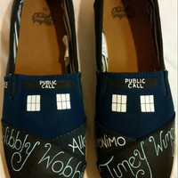 Doctor Who Theme Hand Painted Shoes size 7 women's