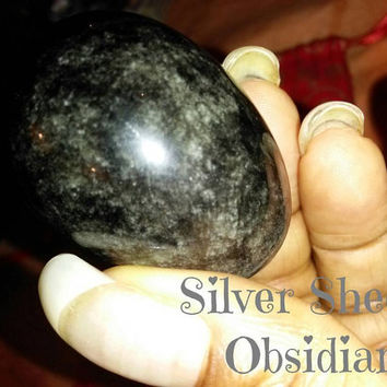 Silver Sheen Obsidian Yoni Egg  Medium (40mmx25mm) non drilled.