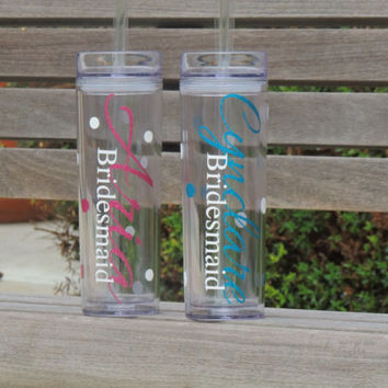 personalized cups, bachelorette party cups, skinny tumblers, acrylic cups, plastic tumbler, personalized tumbler, wedding party favor, bride