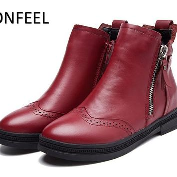 ICONFEEL Brand Moto Ankle Boots In Women Boots Autumn Winter 2017 Fashion Western Botas Damen Leather Shoes Sapato Feminin 35-41