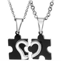 His & Hers Matching Set Titanium Couple Pendant Necklace Korean Love Style in a Gift Box (ONE PAIR): Jewelry: Amazon.com