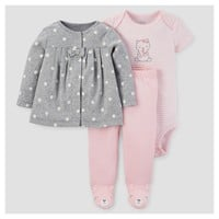 Baby Girls' 3pc Cardigan Set - Just One You™ Made by Carter's® Gray/Pink Bear
