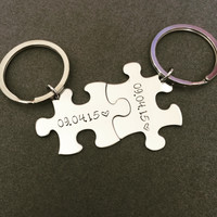 Personalized Date Keychains for couples , Anniversary Gift