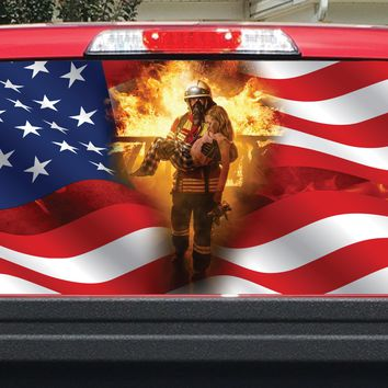American Flag Firefighter Flame Girl Rear Window Decal