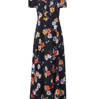 Floral Cold Shoulder Split Lace-up Maxi Dress For Women