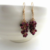 Garnet cluster earrings, January birthstone, burgundy garnet earrings, gold filled wire wrapped earrings, red garnet jewelry